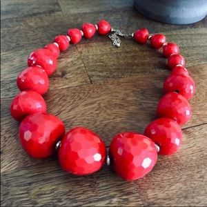 Red Faceted Big Bead Statement Necklace